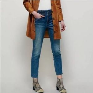 Free People Braided High Waist Skinny Jeans 26